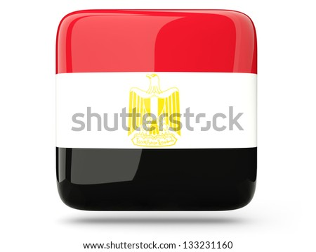 Glossy square icon of flag of egypt - stock photo