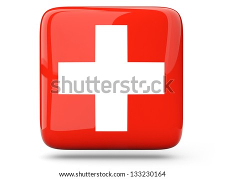 Glossy square icon of flag of switzerland