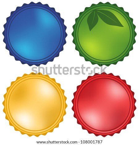 Glossy Stickers Set Isolated on White