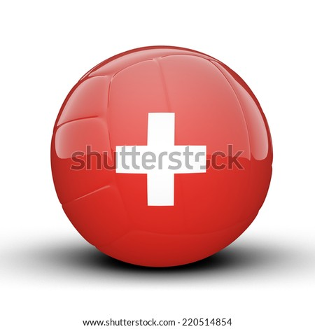 Glossy Switzerland volleyball ball flag isolated on white background