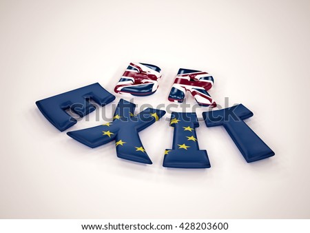 Glossy three-dimensional inscription Br Exit on dimensional background. 3D render. - stock photo