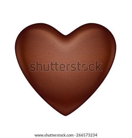 Glossy vector chocolate heart bonbon. Good for Valentine' day design. - stock photo