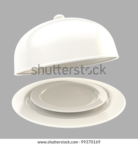 Glossy white ceramic salver with a dish and food cover isolated on grey