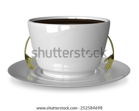 Glossy white cup of coffee or tea character on saucer isolated on white - stock photo