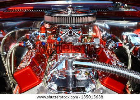 GLOUCESTER, VA- APRIL 13:69 Camaro 383 engine in the Daffodil car show sponsored by the MPCC(middle peninsula car club)at the Main St shopping center in Gloucester, Virginia on April 13, 2013 - stock photo