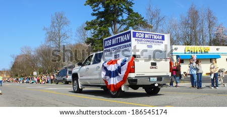 GLOUCESTER, VA - April 5, 2014: 28th annual Daffodil parade, The Congressman Rob Wittmans Election truck, The Daffodil fest and Parade is a regular event held each spring