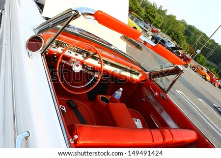 GLOUCESTER, VA- AUGUST 7:1964 Ford Falcon Futura interior in the 19th Annual 2013 MPCC(middle peninsula car club)meeting at the Main St shopping center in Gloucester, Virginia on August 7, 2013