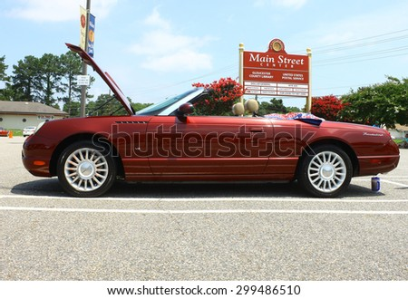 GLOUCESTER, VA- JULY 19: A Ford Thunderbird at the 2015 Middle Peninsula Classic Car Club blast from the past car show in Gloucester Virginia on a sunny summer day  - stock photo