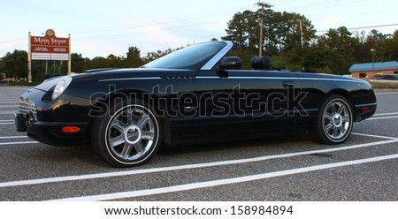 GLOUCESTER, VA- OCTOBER 18: Convertible For T-Bird in the 30thAnnual 2013 MPCC(middle peninsula car club)meeting at the Main St shopping center in Gloucester, Virginia on October 18, 2013  - stock photo