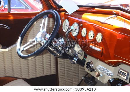 GLOUCESTER, VIRGINIA - AUGUST 22, 2015:A 1940 Chevrolet interior in the DRIVE-IN FOR DIABETES CAR SHOW Sponsored by Tractor Supply in August in Gloucester Virginia. - stock photo
