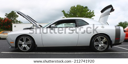 GLOUCESTER, VIRGINIA - AUGUST 23, 2014:A Silver Petty's Garage Dodge Challenger in the DRIVE-IN FOR DIABETES CAR SHOW Sponsored by Tractor Supply in August in Gloucester Virginia.   - stock photo