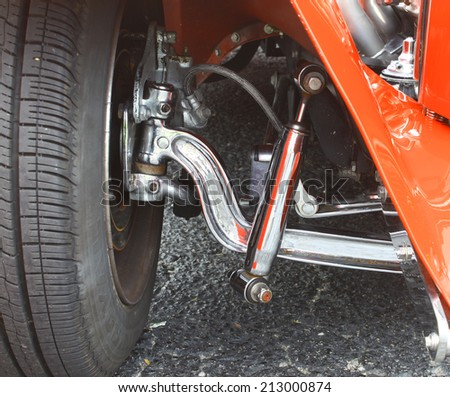 GLOUCESTER, VIRGINIA - AUGUST 23, 2014:The lower front suspension of a 31 Ford in the DRIVE-IN FOR DIABETES CAR SHOW Sponsored by Tractor Supply in August in Gloucester Virginia. - stock photo