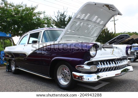 GLOUCESTER, VIRGINIA - JULY 12, 2014:A 1955 Chevrolet BelAir in the Blast from the PAST CAR SHOW,The Blast From the Past car show is held once each year in July in Gloucester Virginia. - stock photo