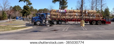 GLOUCESTER, VIRGINIA - MARCH 2, 2016:A Forest Oaks transport truck,Forest Oaks Transport is a licensed and bonded freight shipping and trucking company running freight hauling business from Julian, NC