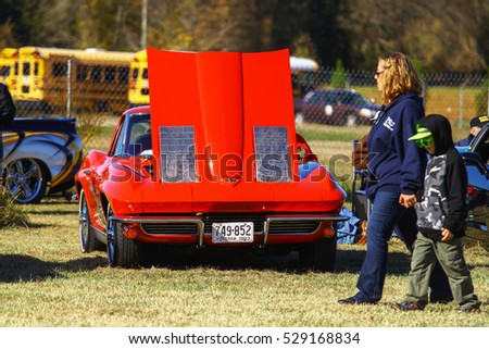 GLOUCESTER, VIRGINIA - NOVEMBER 12, 2016: A 1963 Chevrolet Corvette stingray in the annual Shop With a Cop Car Show held once each year to help benefit needy children of Gloucester for Christmas