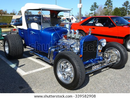 GLOUCESTER, VIRGINIA - NOVEMBER 14, 2015: A 1937 Ford T-Bucket in the annual Shop With a Cop Car Show held once each year to help benefit needy children of Gloucester for Christmas.