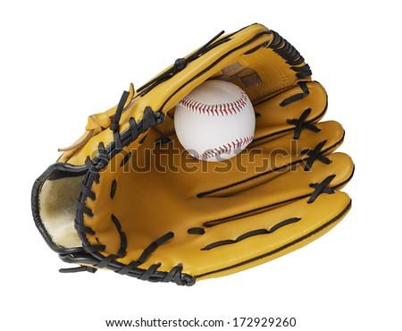 Glove and baseball - stock photo