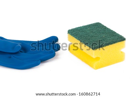 Glove and sponge for cleaning, isolated on white background.