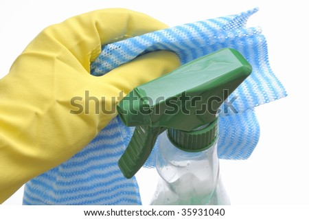 Glove, cleaning rag and cleaning agent