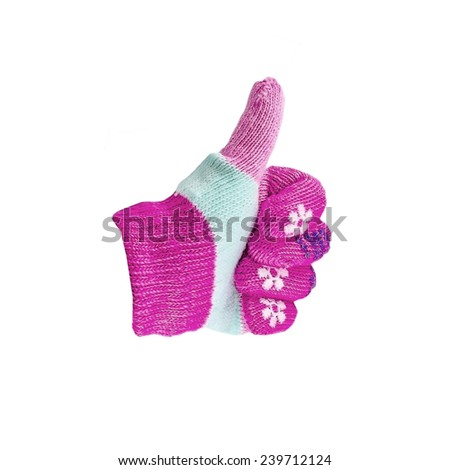 Glove isolated on white showing the thumbs up sign - stock photo