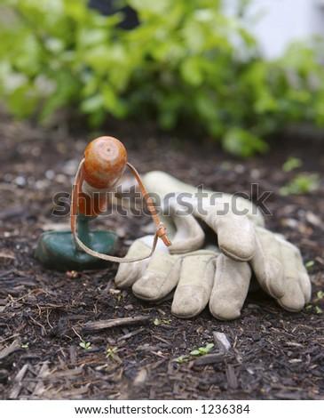 Gloves and Garden Shovel - stock photo