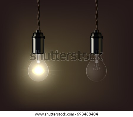 Glowing and switched off lamp isolated on brown background. Raster copy.
