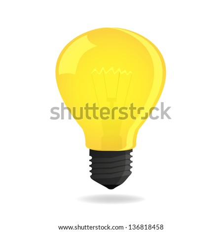 glowing and turned off electric light bulb, vector illustration. - stock photo