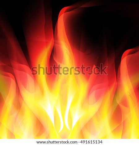 Glowing background with bright fire on black. For the design of covers and business cards, web design
