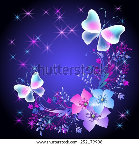 Glowing background with flowers, butterflies and stars - stock photo
