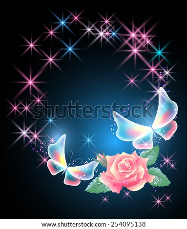 Glowing background with rose, butterflies and stars - stock photo