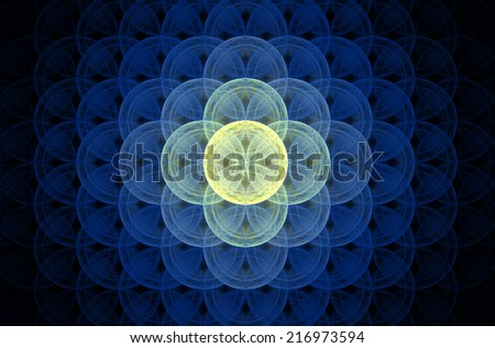 Glowing blue abstract fractal background with a detailed decorative flower of life pattern spreading from the center which is in shining yellow color, all against black color. - stock photo