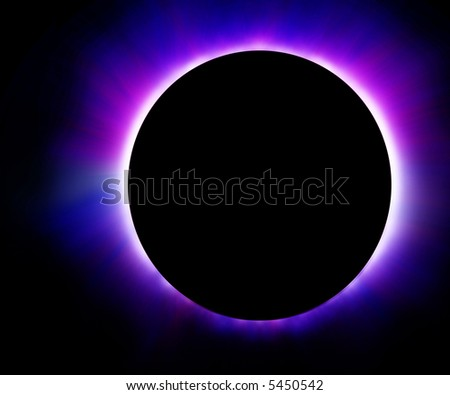 Glowing blue eclipse - stock photo
