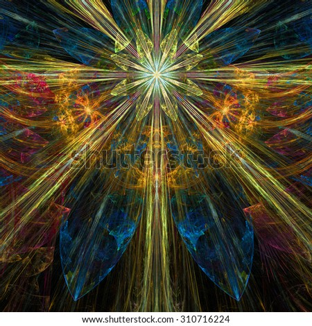 Glowing blue,red,yellow exploding flower/star fractal background with a detailed decorative pattern, all in high resolution. - stock photo