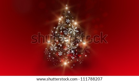 Glowing Christmas tree on horizontal background with copyspace