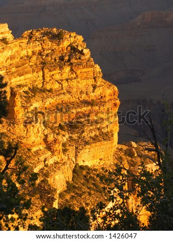 Glowing cliff during a Grand Canyon sunrise