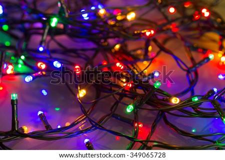 glowing Colorful LED Christmas lights - stock photo