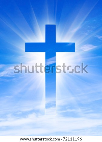 glowing cross on a sky - stock photo