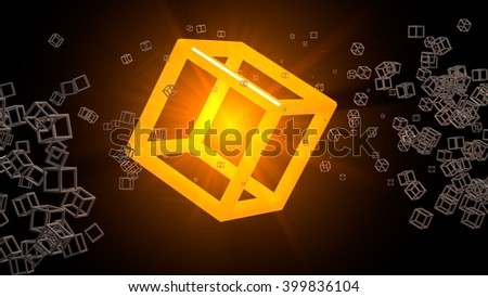 Glowing cube floating in abstract space. Many small objects around. Three-dimensional raster illustration. - stock photo