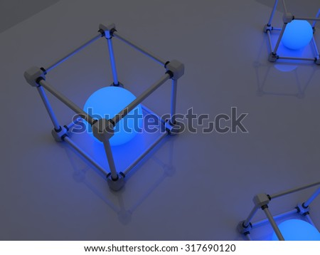 Glowing cubes of fluorescent tubes. Abstract composition of geometric processing facilities