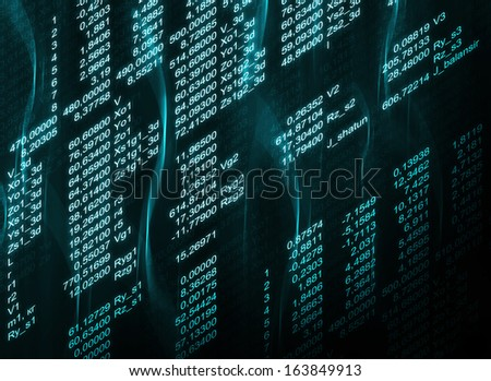 Glowing digital code on a dark background. Business concept