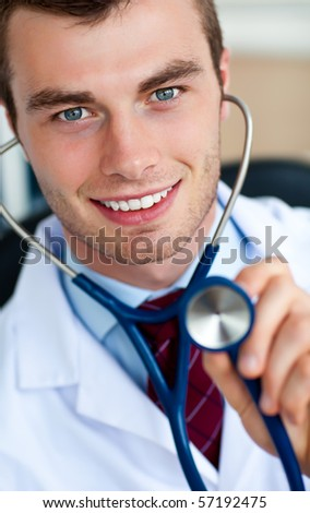 Glowing doctor holding a stethoscope against a white background
