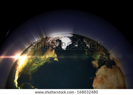 Glowing earth, Elements of this image furnished by NASA