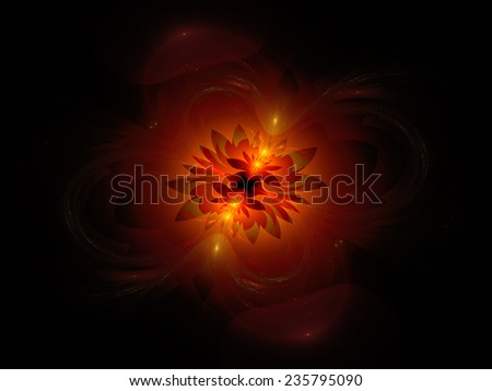 Glowing fiery flower in space, computer generated abstract background - stock photo