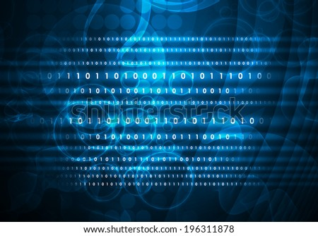 Glowing figures and circles. Hi-tech technological background - stock photo