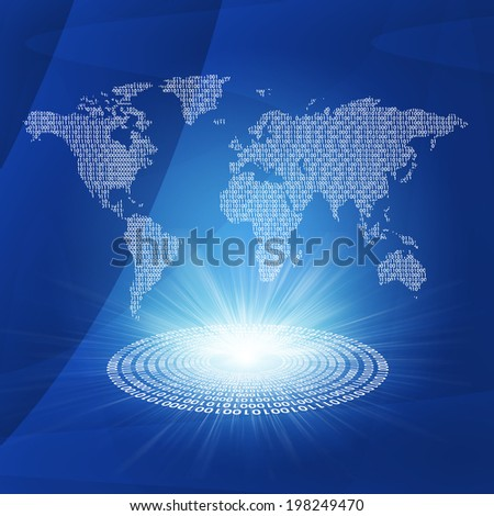 Glowing figures and world map. Hi-tech technological background - stock photo