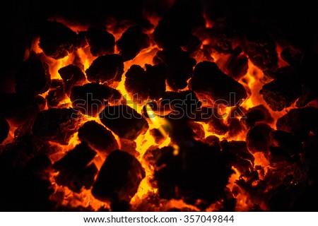 Glowing fire coals - stock photo