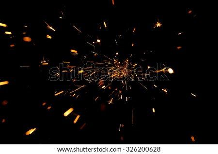 Glowing Flow of Sparks  - stock photo
