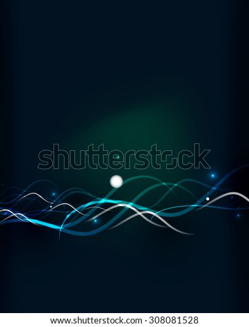 Glowing flowing waves and stars in dark space.  illustration. Abstract background