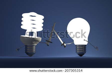 Glowing fluorescent light bulb and tungsten one fighting duel with swords on blue textured background - stock photo