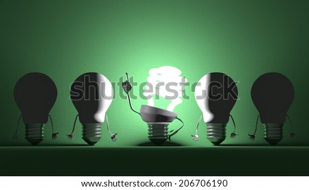 Glowing fluorescent light bulb character in moment of insight among switched off tungsten ones on green textured background - stock photo
